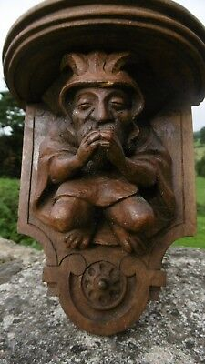 SUPERB 19thc GOTHIC OAK CARVED FIGURE OF A HORNED GOBLIN WITH SHELF OVER C.1860
