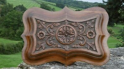SUPERB 19thc MAHOGANY CARVED PANEL WITH FLORAL & LEAF DECOR
