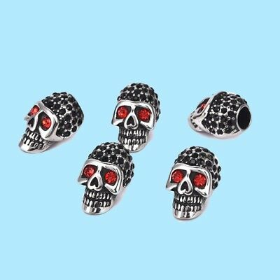 2x Jewelry Accessories Stainless Steel Skull Skeleton Head Beads With Rhinestone