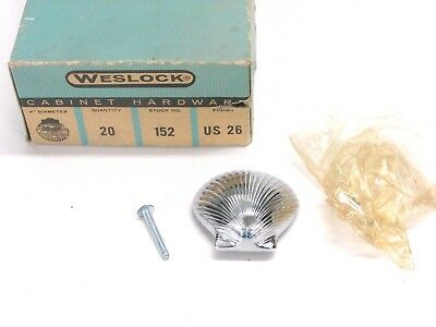 Nos! Vintage Weslock Sea Shell Cabinet Door / Drawer Pull, #152, Bright Chrome