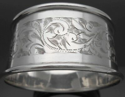 Chester 1924 - Sterling Silver Chased Napkin Ring - No Initials - Vintage