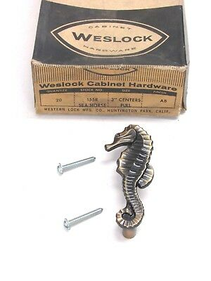 Nos! Vintage Weslock Seahorse Cabinet Door / Drawer Pull, #155R, Antique Brass