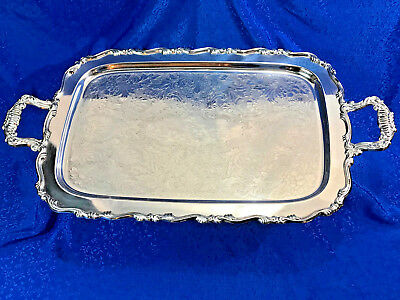 Oneida Large Silverplate Handled Waiter Serving Tray Georgian Scroll