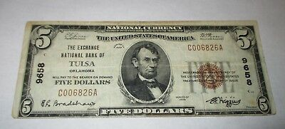 $5 1929 Tulsa Oklahoma OK National Currency Bank Note Bill Ch. #9658 VF!!