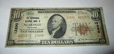 $10 1929 Muskogee Oklahoma OK National Currency Bank Note Bill! Ch. #12890 FINE!