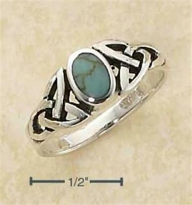 Sterling Silver Genuine Oval Turquoise Ring with Celtic Knot s Shank - Size 8