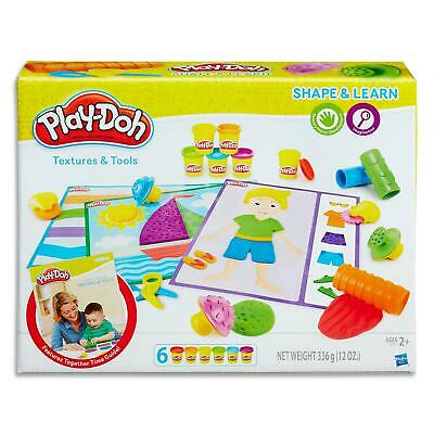 Play Doh Shape & Learn Textures & Tools Set - Dough Cans Kids Toys Games Ages 2+