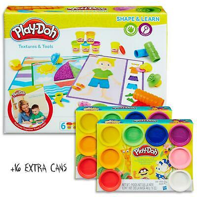 Play Doh Shape & Learn - Textures & Tools Set & 16 Dough Cans  Kids Toys Ages 2+