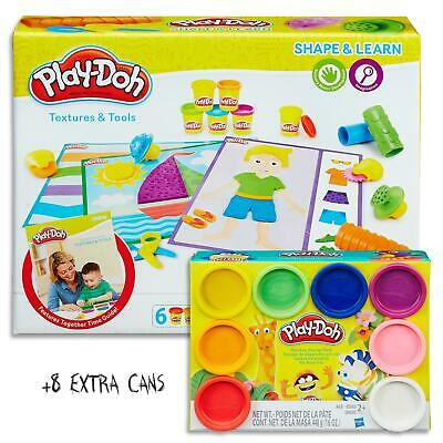 Play Doh Shape & Learn - Textures & Tools Set & 8 Dough Cans - Kids Toys Ages 2+