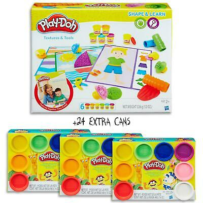 Play Doh Shape & Learn - Textures & Tools Set & 24 Dough Cans  Kids Toys Ages 2+