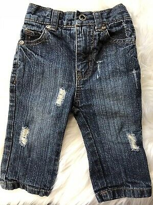 Hurley Boys 6-9 Months Distressed Denim Jeans with Elastic Back Waist