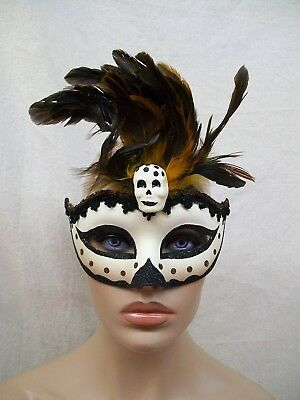 Tribal Half Mask w/ Feather Witch Doctor VooDoo Tribal Warrior Safari Lion King