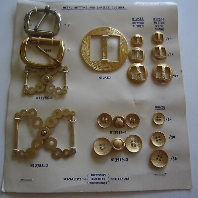 Vintage Couture Golden Metal 1940s 1950s Buttons & Buckles Sample card Rare