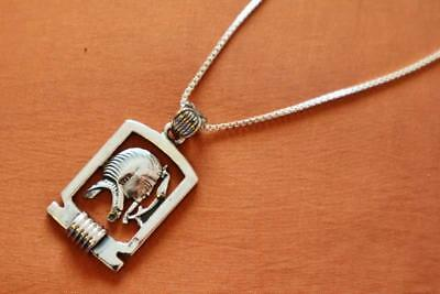 Antique Egyptian Silver Pendant Necklace Chain of Ancient King Tutankhamun Mask