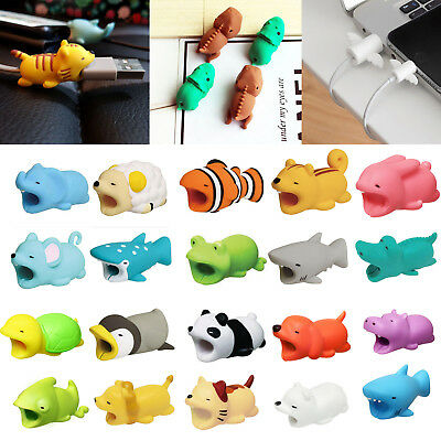 Cute Animal Bite USB Cable Wire Charger Cover Protector Saver For IOS Android