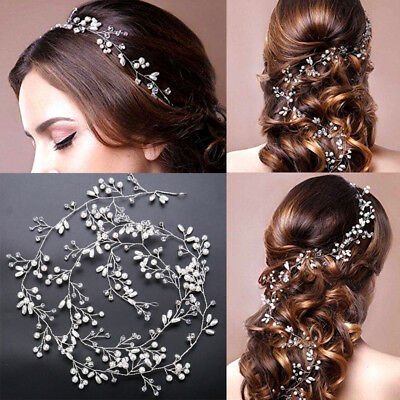 Women Wedding Bridal Bridesmaid Pearl Headband Tiara Long Hair Chain Jewelry