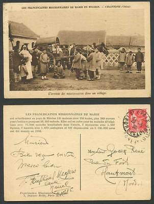 China French 50c 1936 Old Postcard Chantong Chinese Village Missionaries Arrival