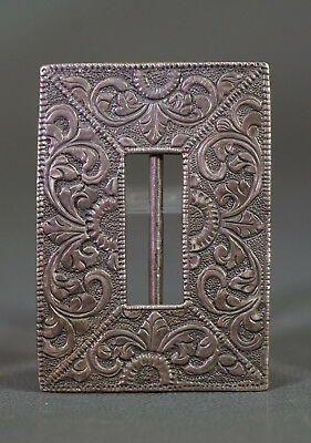 Victorian Fine Silver 800 Floral Motif Engraved Belt Buckle Leather Textile fit