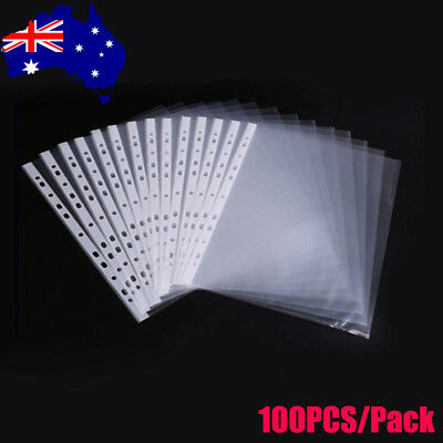 100PCS A4 Clear Plastic Punched Pockets Folders Filing Wallets Sleeves Wallet AU