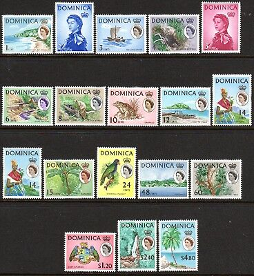 1963 DOMINICA DEFINITIVES PICTORIALS SG162-178 mint unhinged
