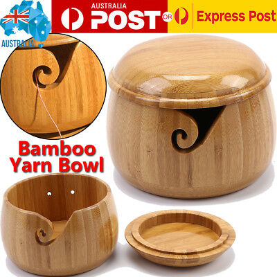 Bamboo Yarn Bowl Holder W/ Lid Wooden Yarn Skeins Knitting Crochet Thread Box AU