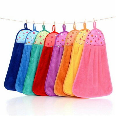 1PC Soft Hanging TowelsSuction Water Thickening Coral Velvet Kitchen Rag Towel