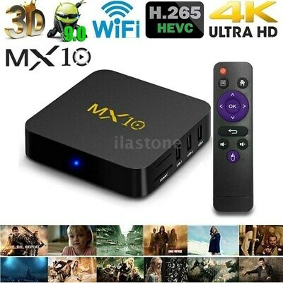 MX10 Android 9.0 Smart TV BOX 4GB+64GB HDR10 USB 3.0 Quad Core WiFi 4K 3D Media