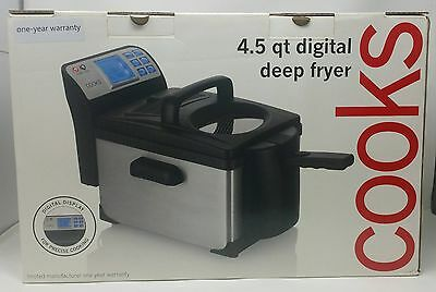 Kochen 4.5 Qt Digital Deep Friteuse Display LCD 1800W Cool Touch Griff