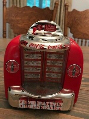 "Coca-Cola Jukebox Bank Plays ""the Real Thing"" & ""buy The World A Coke"" Fast Ship"
