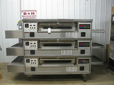 Middleby Marshall PS570G Natural Gas Triple Stack Conveyor Belt Pizza Oven