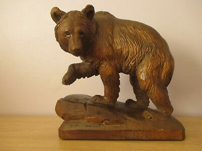 Large Antique Black Forest Strolling Bear Swiss Wood Carving Signed