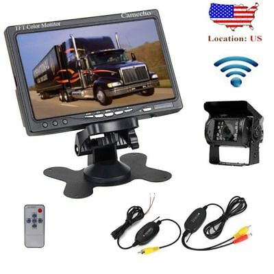 """Wireless IR Rear View System Night Vision Backup Camera +7"""" Monitor For Truck RV"""