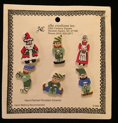 Albe Creations Ceramic Buttons Set/Christmas/Santa and Mrs. Claus and Elves/Cute