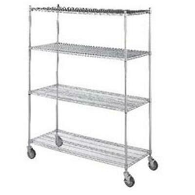 R&B Wire LC183672 18 in. x 36 in. x 72 in. Linen Cart with Four Wire Shelves
