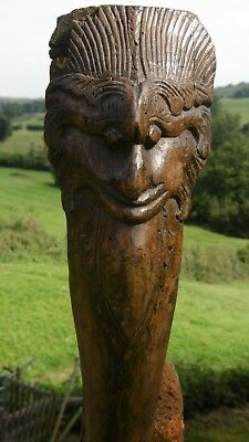 SUPERB Pr 19thc GOTHIC GROTESQUE OAK CARVINGS WITH CLAW FOOT