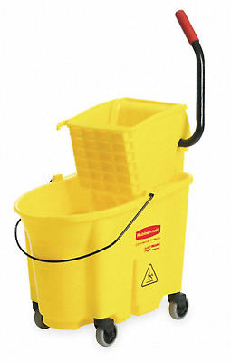 NEW! RUBBERMAID COMMERCIAL WaveBreak MOP BUCKET w/ SIDE PRESS WRINGER, 35-Qt.