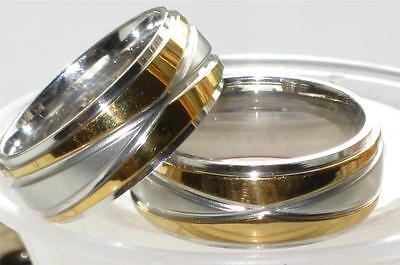 Mens  Womens Stainless Steel 316L  7Mm Wedding Band Wedding Ring Str87 Gold