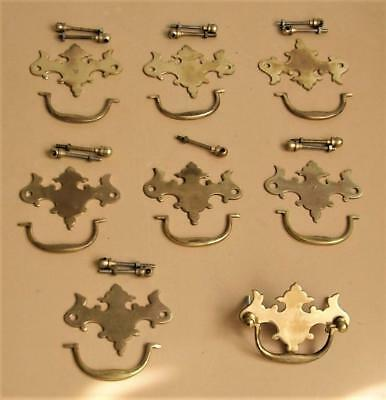 Vintage set of 6+1 SOLID BRASS CABINET HANDLES w ORNATE BACKPLATE & FITTINGS