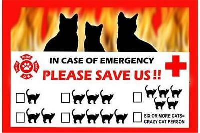 Cats In Case of Emergency Pet Saver Window Cling Decal