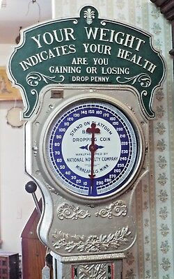 RARE Old Antique NATIONAL NOVELTY 1c Penny WEIGHT FLOOR SCALE Coin Op