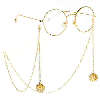 Gold Beads Pendant Eyeglass Cord Glasses Eyewear Spectacles Chain Holder GL252