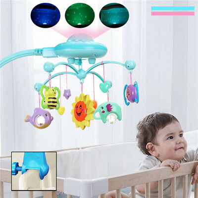 Baby Bed Crib Rotary Music Box Mobile Musical Cot Kid Stars Light Toy Home Funny