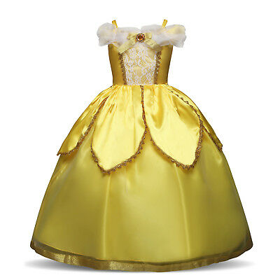 Flower Girl Dress Princess Belle Dress Up Costume Fancy Halloween Party Cosplay