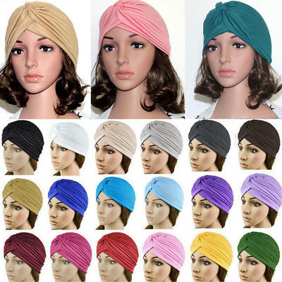 Womens Unisex Turban Head Wrap Stretchy Chemo Hijab Pleated Indian Cap 23colors