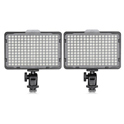 Neewer 2 pcs On Camera Dimmable 176 LED Video Light Panel for Canon Nikon DSLRs