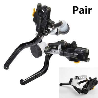 Pair Motorcycle Hydraulic Brake Clutch Lever Master Cylinder Sensor Line Cable