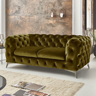 2 Sitzer Chesterfield Sofa Big Emma Barock Möbel Samt Stoff Luxus