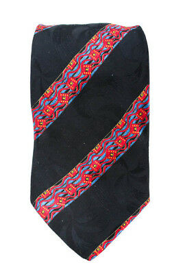 Brioni Mens Black Red Blue Silk Geometric Striped Necktie Tie