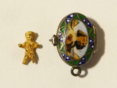 Antique Egyptian Revival Silver & Enamel Moses Basket with TINY Baby Charm #M2*