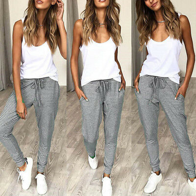 Womens Harem Pencil Pants Stretch Skinny Jogger Bottoms Casual Jogging Trousers